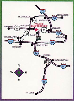 Directions to the Palace Campground in Galena IL.